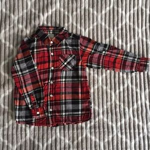 Red and Black Plaid Boys Button Down Shirt